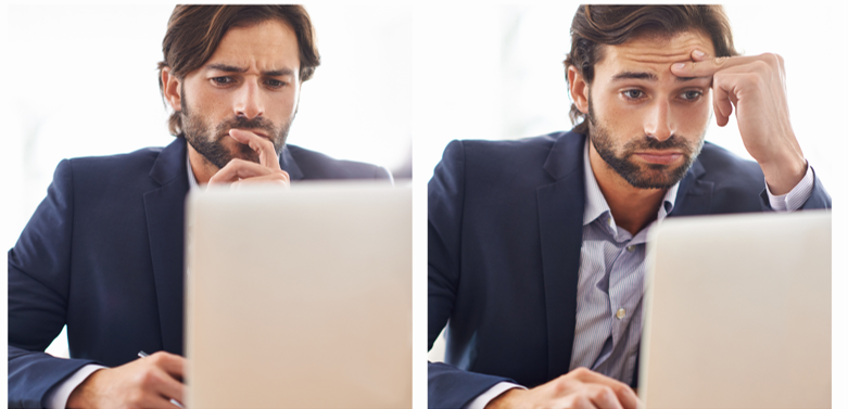 Manager à distance perplexe devant son ordinateur - télétravail